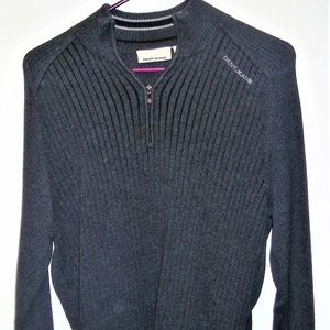 DKNY JEANS GRAY RIBBED 1/4 ZIP PULLOVER SWEATER